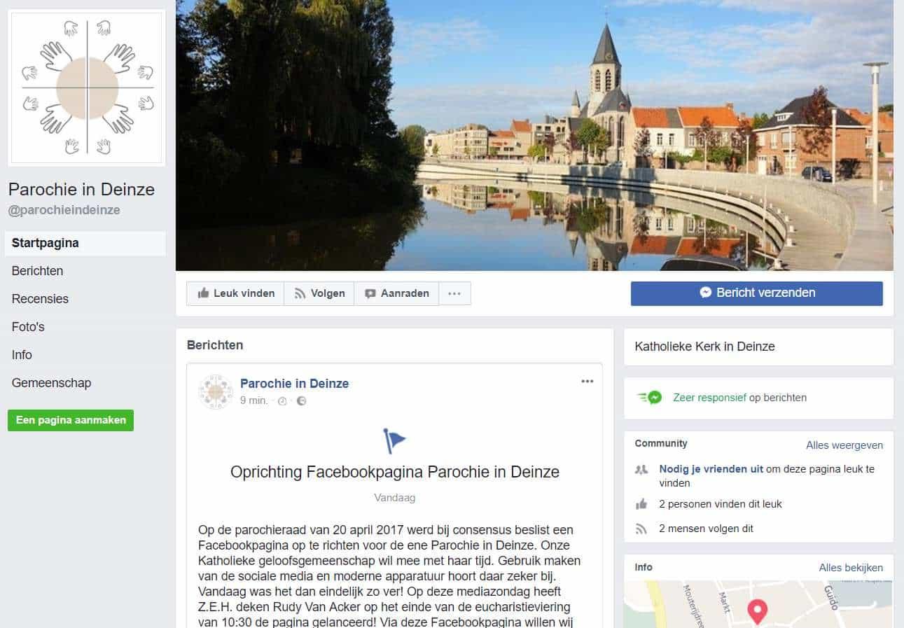 Facebookpagina Parochie in Deinze